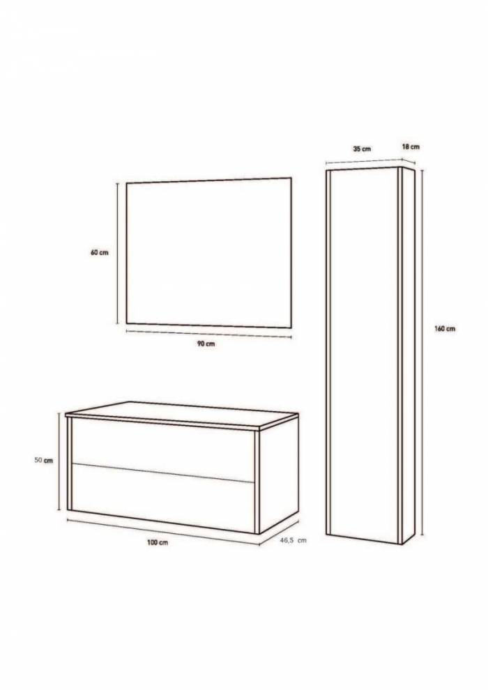 Set mobilier baie Ribe Concrete 4 piese