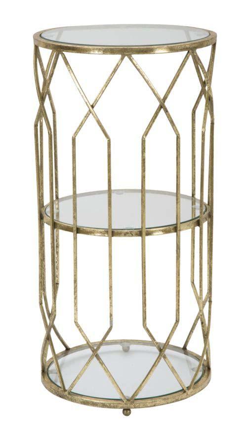 Masă de telefon Tunisi Couple, 71x35x35 cm, metal/ sticla, auriu