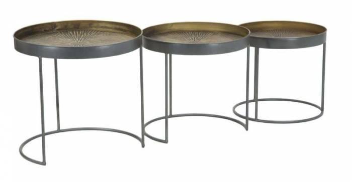 Set trei măsuțe de cafea Opis, 48/43/38x50,5/46 /40,5x50,5/ 46/40,5 cm, metal, negru/ bronz