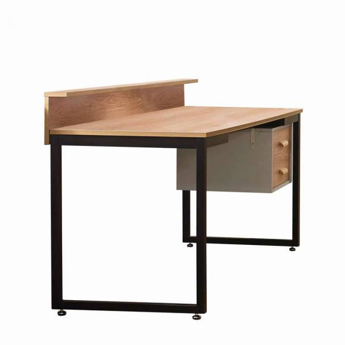 Birou cu sertare Malmo, 71x140x60 cm, mdf/ metal, maro/ negru