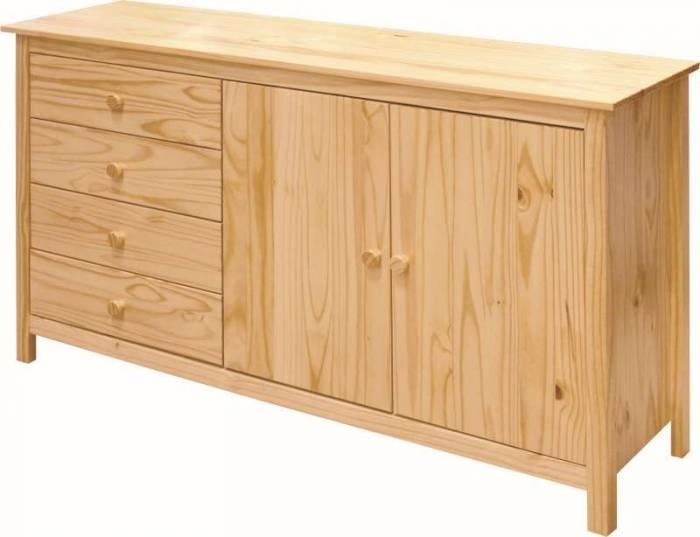 Bufet cu uși și sertare Raven, 80x150x40 cm, lemn, maro