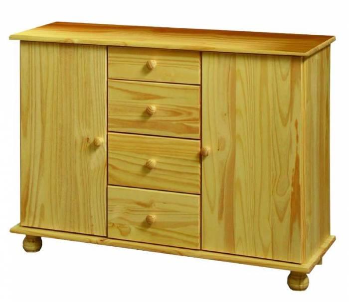 Comodă cu 2 uși și sertare Raven, 81x119x38 cm, lemn, maro