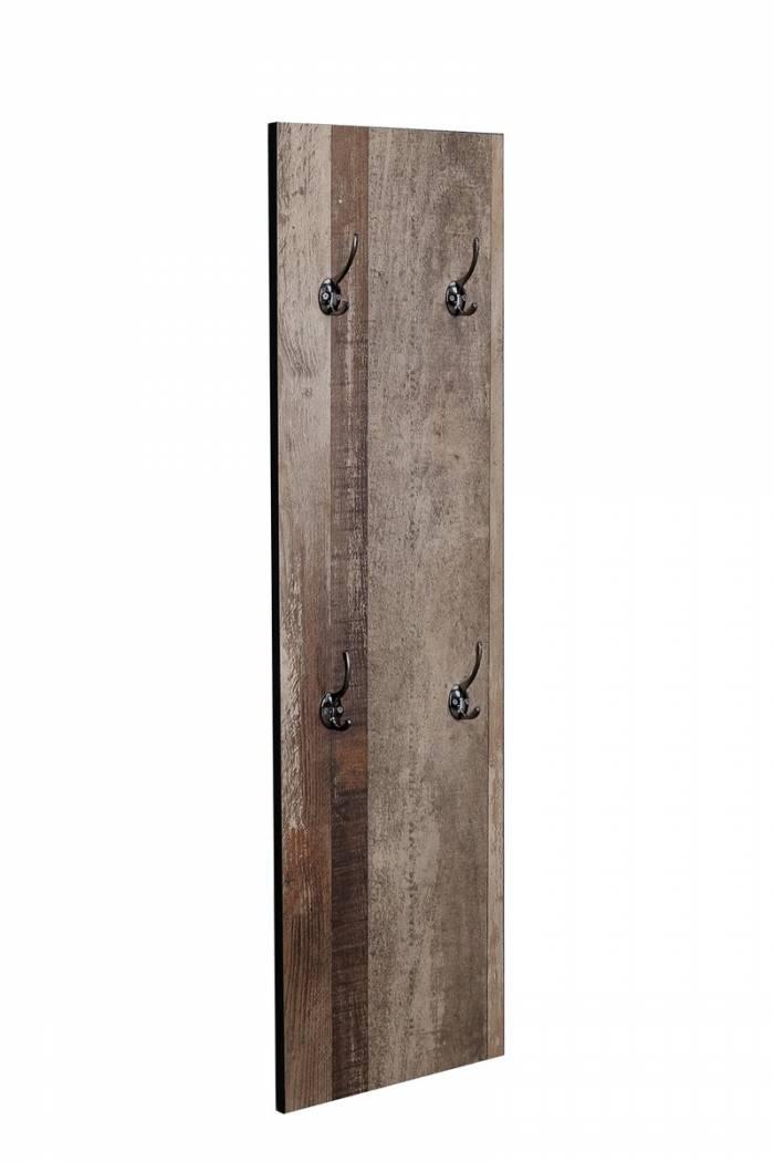 Cuier hol Grimstad, 110x32x3 cm, mdf/ metal, gri/ negru