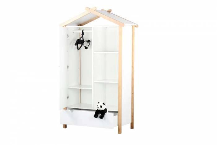 Dulap pentru camera copiilor Alice, 187x112x51 cm, lemn/ mdf, alb/ maro
