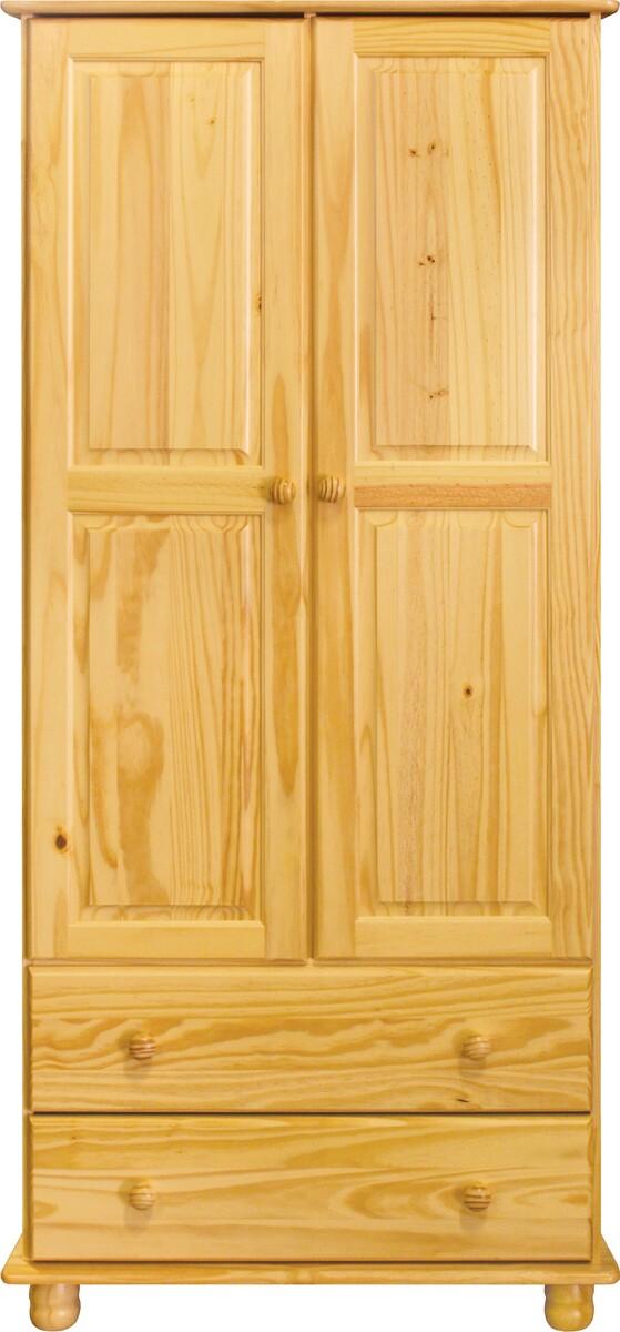 Dulap pentru haine, 2 sertare Raven, 177x82x52 cm, lemn, maro