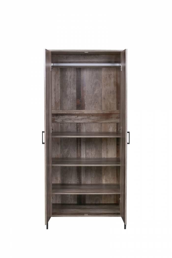 Dulap pentru haine Grimstad, 180x80x54 cm, mdf/ metal, maro/ negru