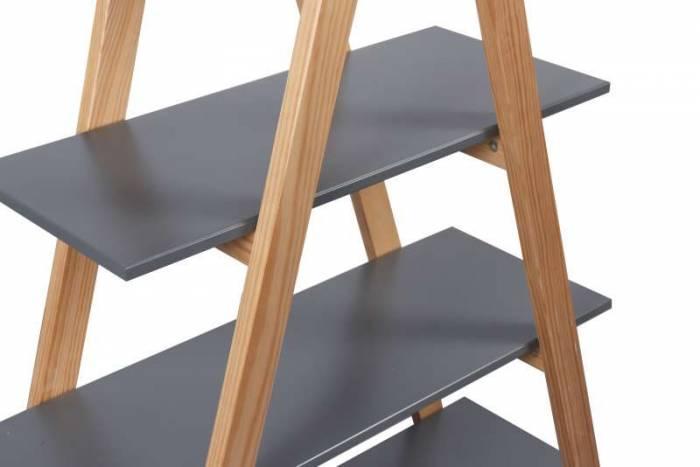 Etajeră pentru camera copilului Apache, 170x90x35 cm, lemn/ mdf, gri/maro