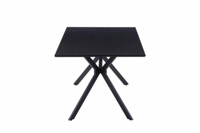Masă de dining Atlantic, 75x180x90 cm, mdf/ metal, gri/ negru
