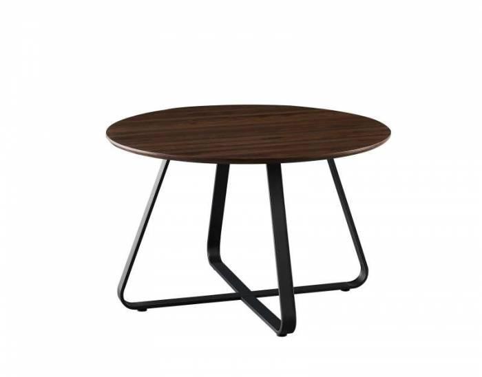 Masă de dining cu blat rotund Ulse, 76x120x120 cm, mdf/ metal, maro/ negru