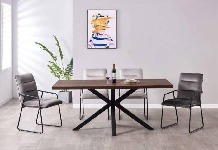 Masă de dining Halmstad, 76x180x90 cm, mdf/ metal, maro/ negru