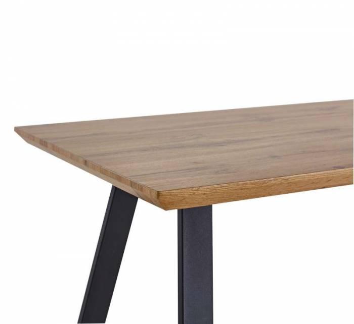 Masă de dining Hamar, 75x140x80 cm, mdf/ metal, maro/ negru