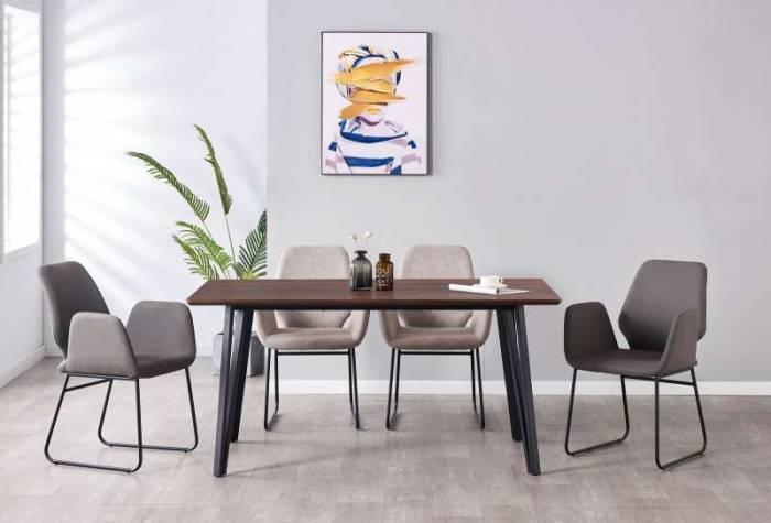 Masă de dining Kalmar, 76x160x90 cm, mdf/ metal, maro/ negru