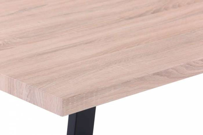 Masă de dining Larsen, 75x160x90 cm, mdf/ metal, maro/ negru