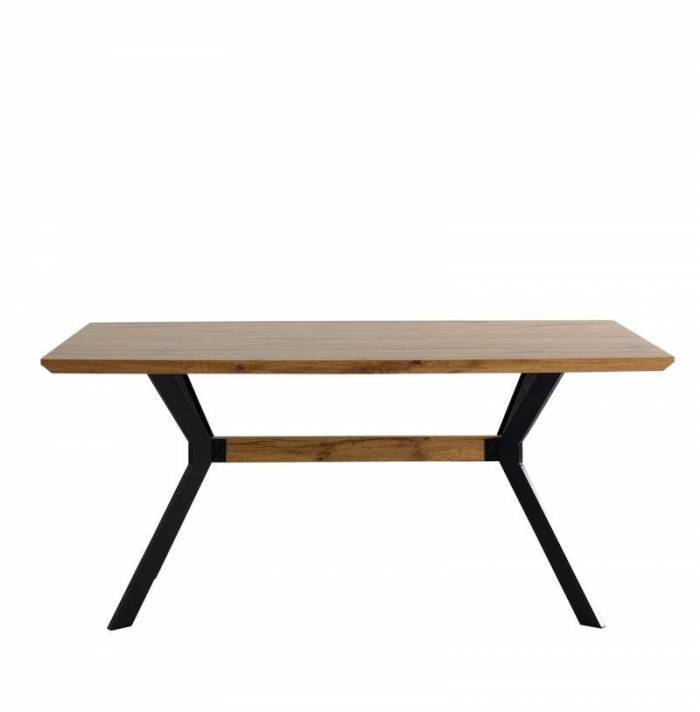 Masă de dining Narvik, 78x160x90 cm, mdf/ metal, maro/ negru