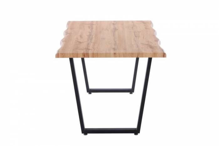 Masă de dining Olsen, 75x160x90 cm, mdf/ metal, maro/ negru