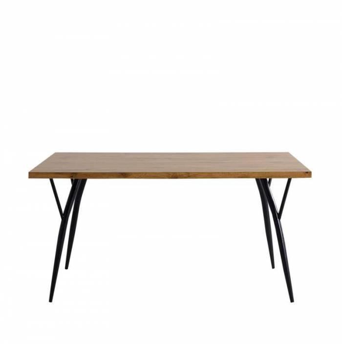 Masă de dining Tromso, 77x150x90 cm, mdf/ metal, maro/ negru