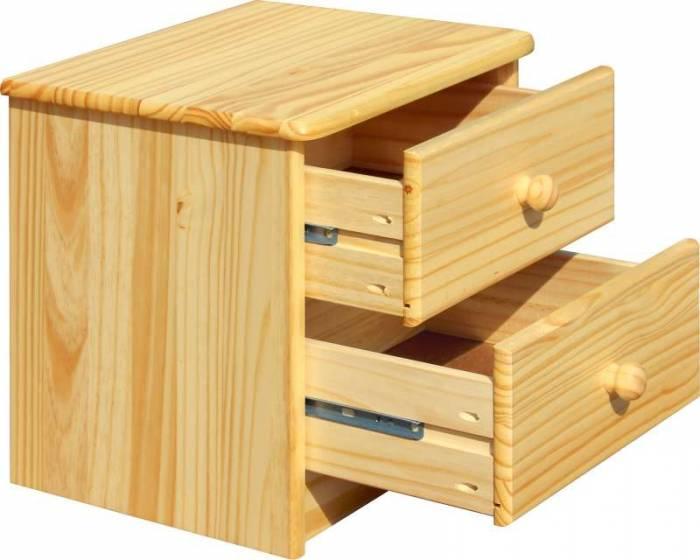 Noptieră cu 2 sertare Raven, 42x43x35 cm, lemn, maro