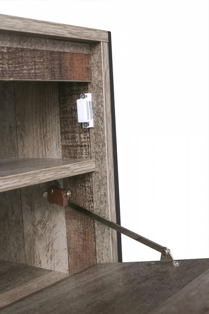 Pantofar cu 1 ușă Grimstad, 50x80x40 cm, mdf/ metal, gri/ negru