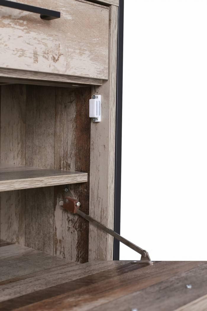 Pantofar cu 2 uși Grimstad, 96x80x39 cm, mdf/ metal, gri/ negru