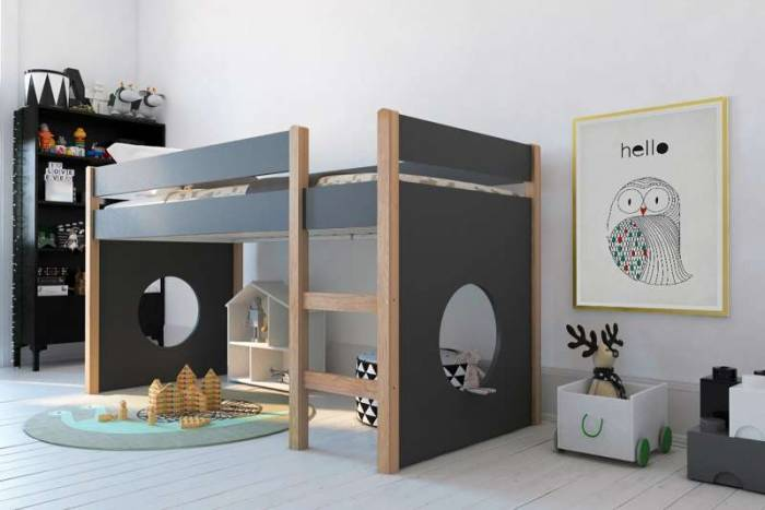 Pat pentru copii Aurora, 118x99x210 cm, lemn/ mdf, maro/gri