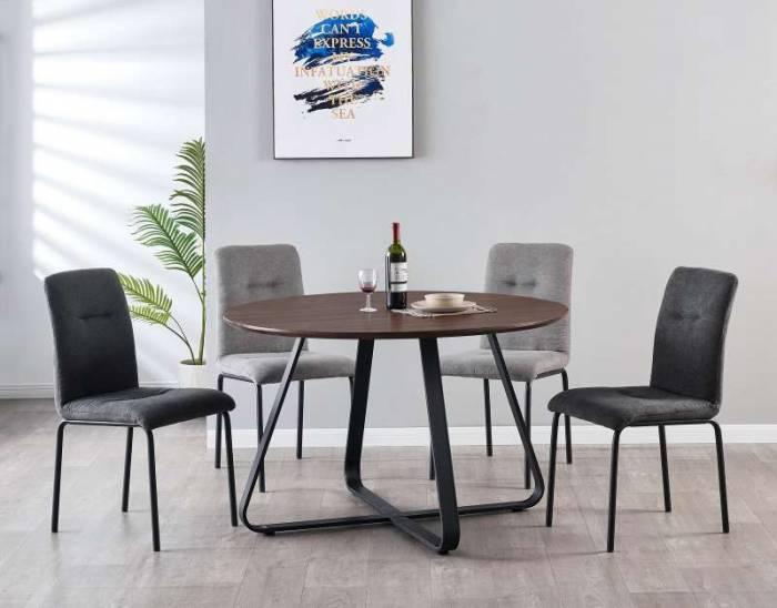 Set de 2 scaune de dining Malmo, 87x45x56 cm, textil/ metal, gri deschis/ negru