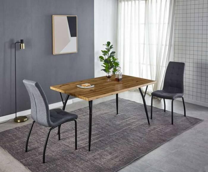 Set de 2 scaune dining Skanor, 85x56x47 cm, textil/ metal, gri deschis/ negru