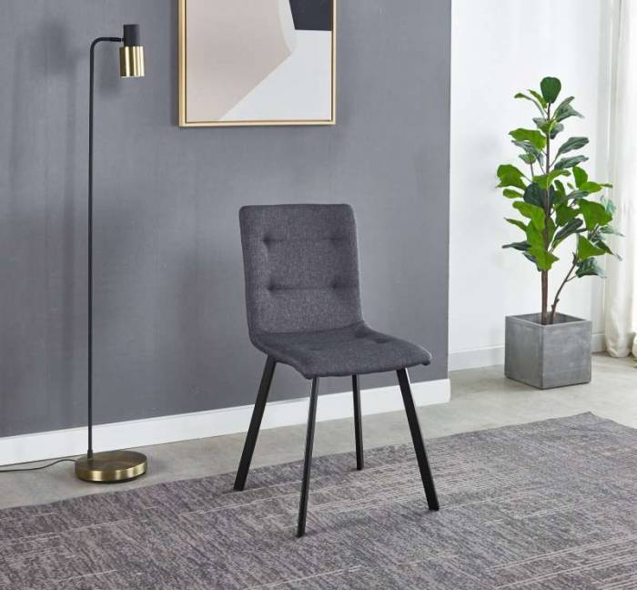 Set de 2 scaune dining Skanor, 85x56x47 cm, textil/ metal, gri inchis/ negru