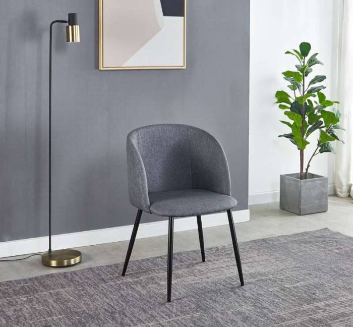 Set de 2 scaune dining Trosa, 84x63x53 cm, textil/ metal, gri deschis/ negru