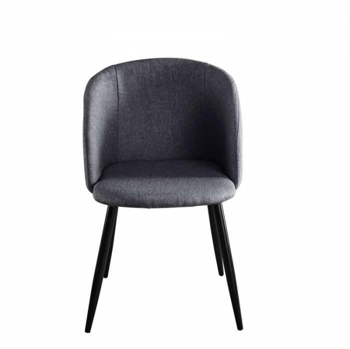 Set de 2 scaune dining Trosa, 84x63x53 cm, textil/ metal, gri inchis/ negru