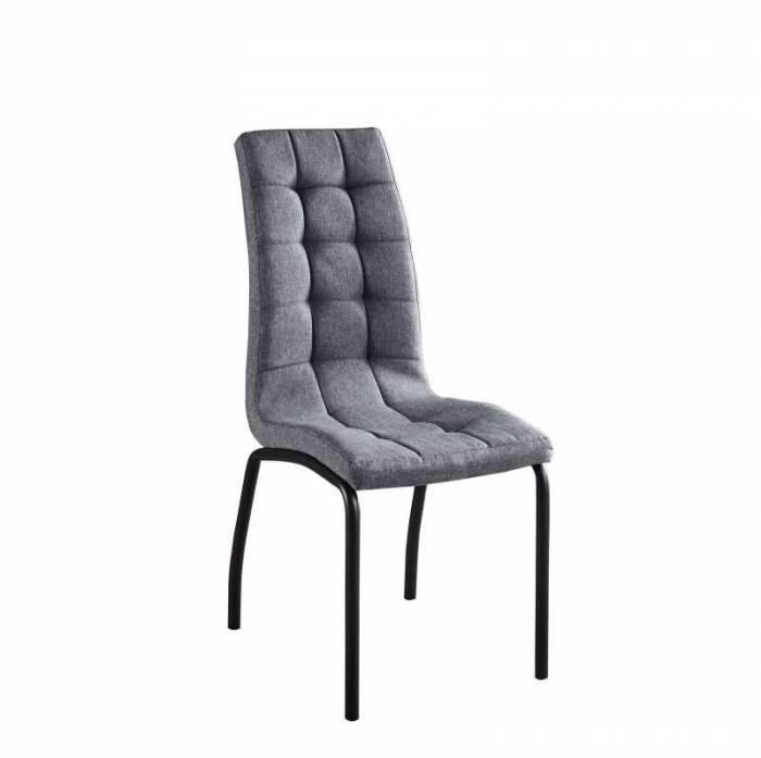 Set de 2 scaune Kolding, 103x59x42 cm, textil/ metal, gri deschis/ negru