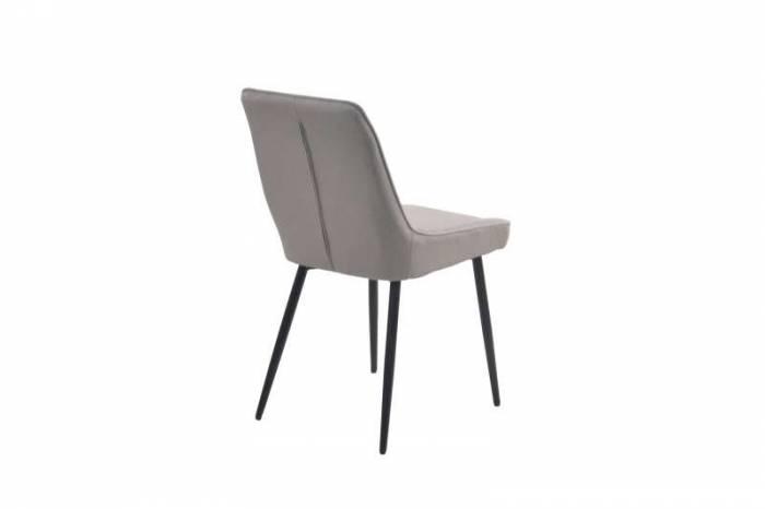 Set de 2 scaune matlasate Diamond, 86x52x56 cm, textil/ metal, gri deschis/ negru