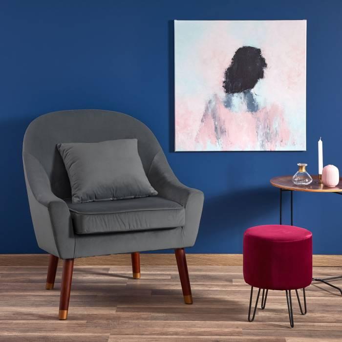 Fotoliu tapițat Opale 73x78x86 cm, catifea