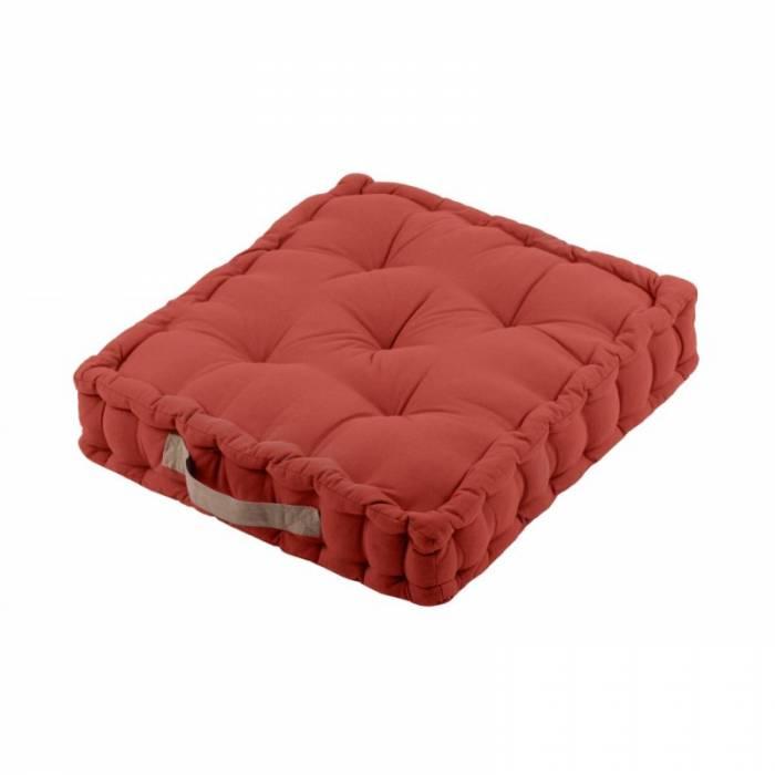 Pernă cărămizie de podea din bumbac Duo Terracotta 45x45x10 cm
