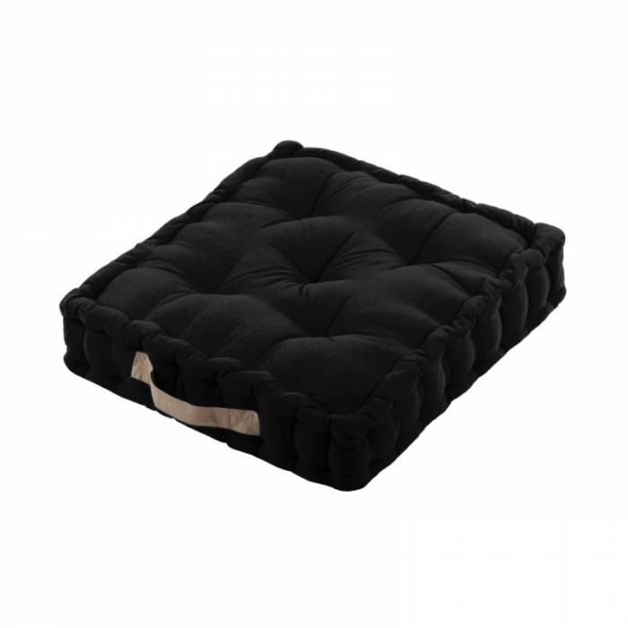 Pernă neagră de podea din bumbac Duo Noir/Lin 45x45x10 cm