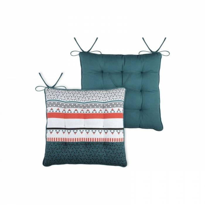 Pernă pentru scaun turcoaz geometrică Niro Canard 40x40 cm