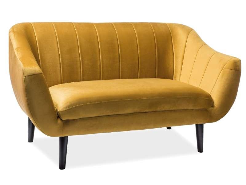 Canapea Elite, 153x83x57 cm, catifea/lemn, galben curry poza