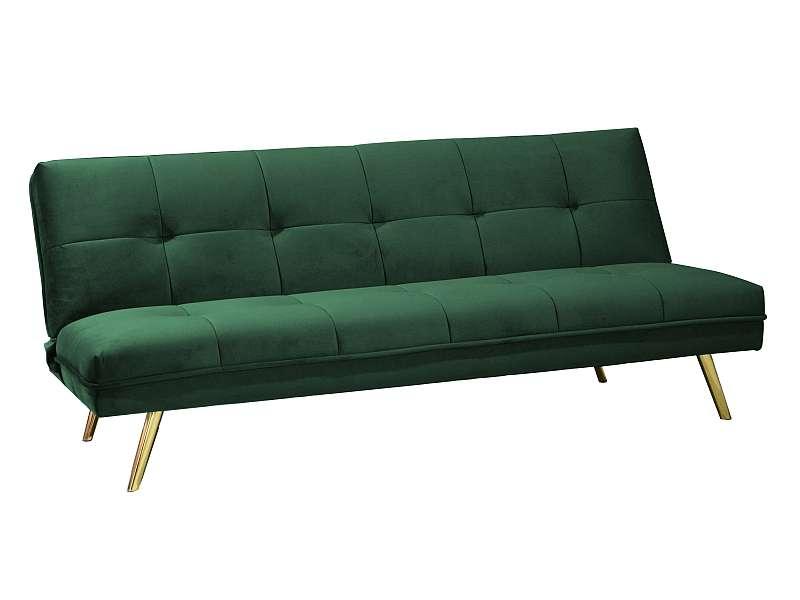 Canapea extensibilă Moritz, 181x80x55 cm, catifea/metal, verde/auriu poza