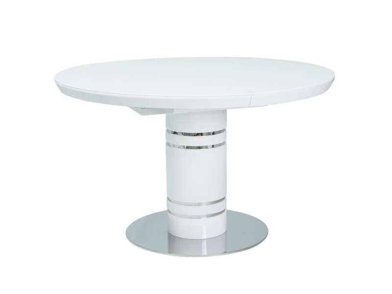 Masă extensibilă Stratos,120(160)x120 cm, MDF/sticlă securizată, albă poza