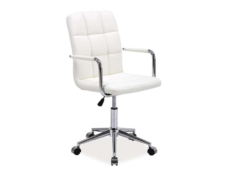 Scaun de birou Q-022 87x51x40 cm, ecopiele, alb poza