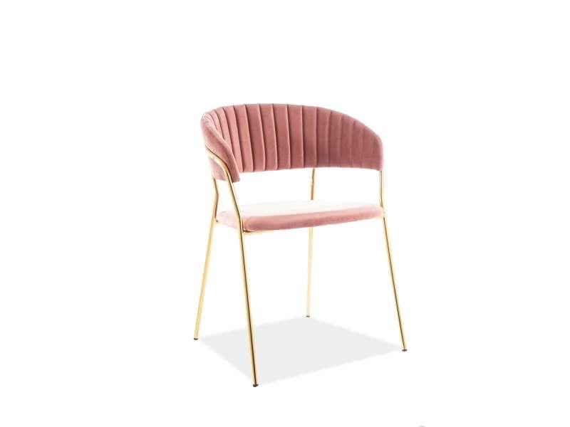 Scaun de dining Lira, 57x52 x75 cm, catifea/metal, roz poza
