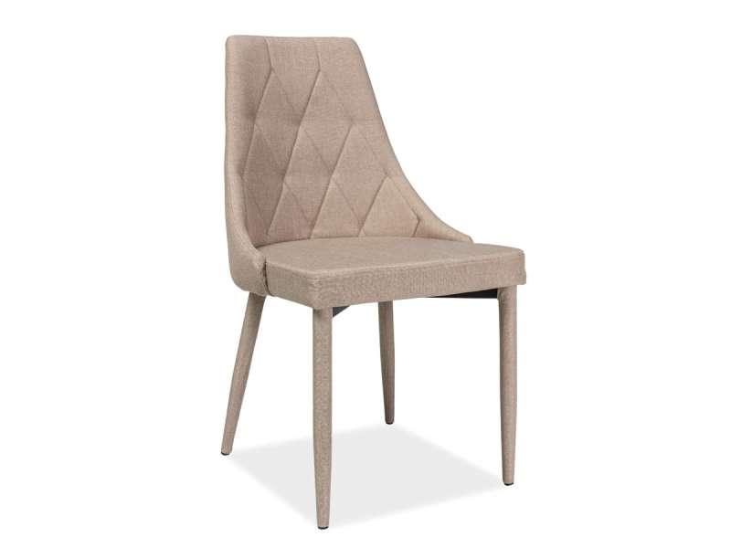 Scaun dining Trix, 88x46x46 cm, textil/metal, bej poza