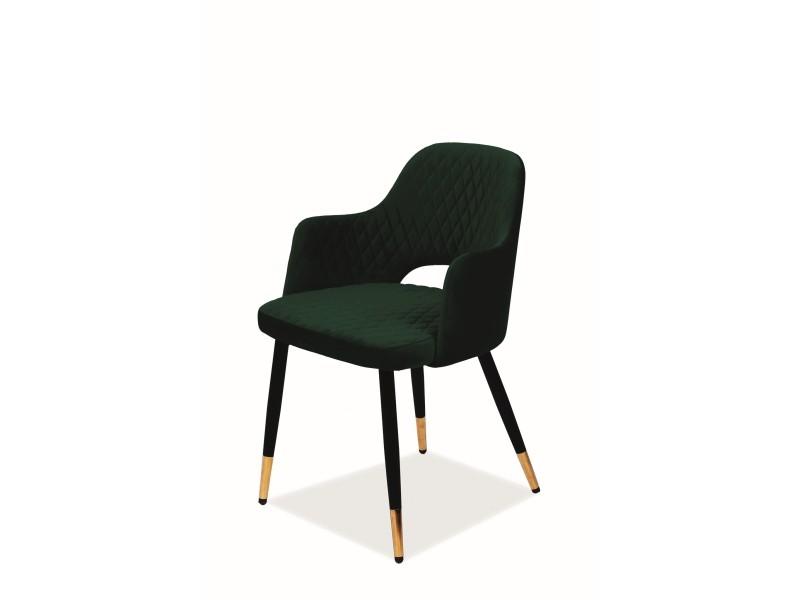 Scaun Franco, 82x55x45 cm, catifea/metal, verde/negru poza