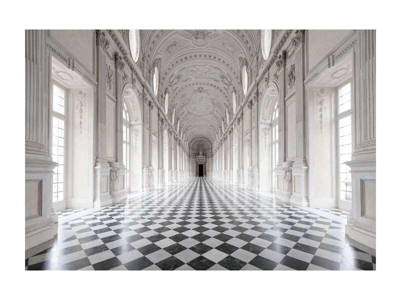 Tablou PALACE CORRIDOR, 120X80cm, sticlă securizată,alb/negru poza