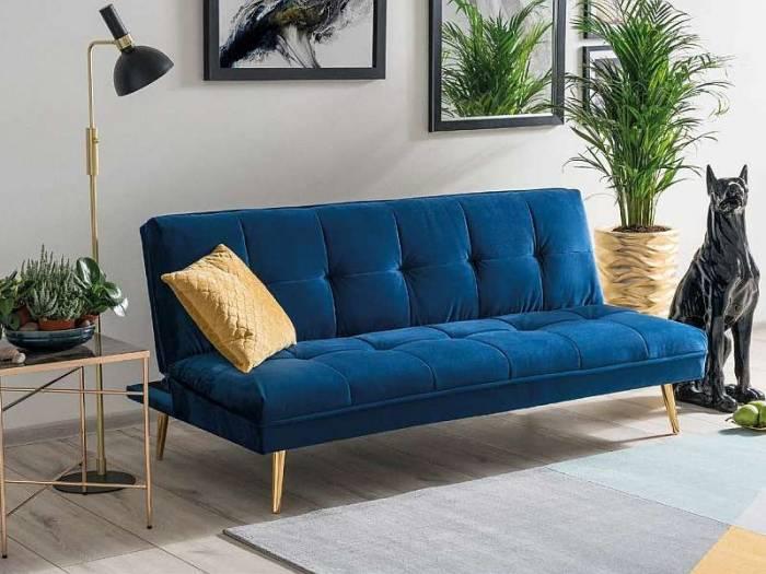 Canapea extensibilă Moritz, 181x80x55 cm, catifea/metal, bleumarin/auriu