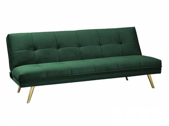 Canapea extensibilă Moritz, 181x80x55 cm, catifea/metal, verde/auriu