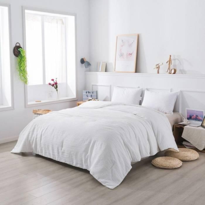 Cuvertură albă matlasată Century 230x250 cm