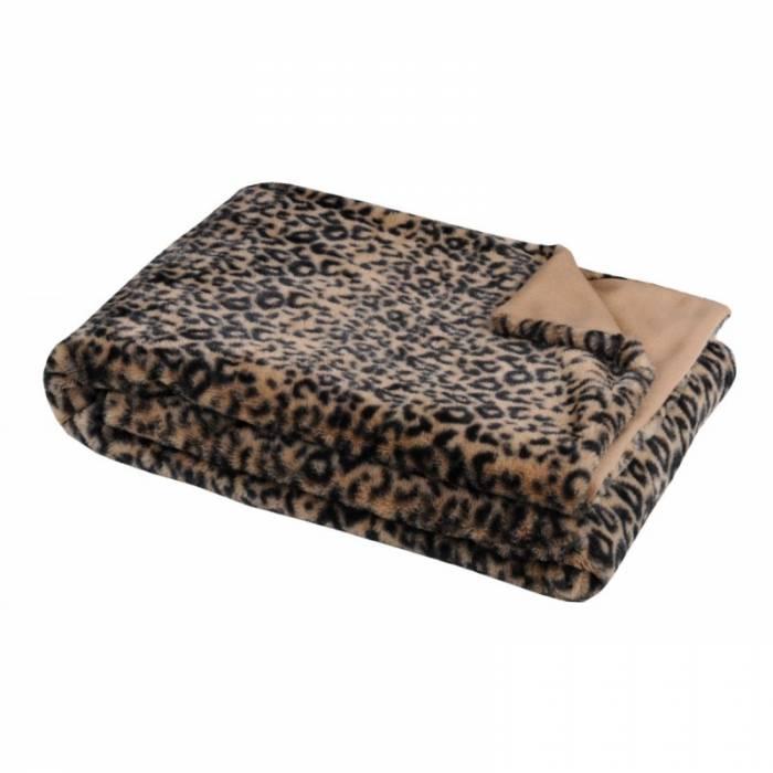 Pătură animal print Leopard Jangal Fauve 130x160 cm