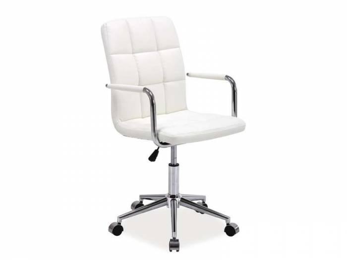 Scaun de birou Q-022 87x51x40 cm, ecopiele, alb