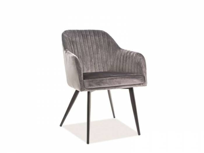 Scaun Elina, 82x48x47 cm, catifea/metal, gri/negru