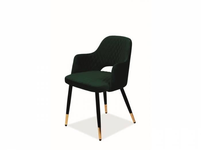 Scaun Franco, 82x55x45 cm, catifea/metal, verde/negru